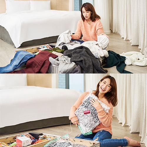 VAGO - før og efter vakuum komprimering af tøj